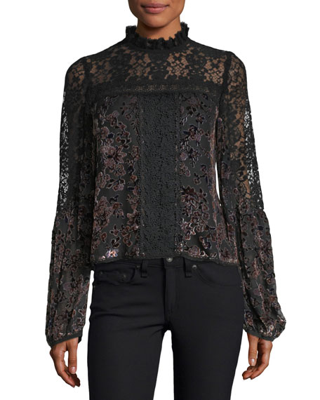 Nanette Lepore Obsession High-Neck Long-Sleeve Lace Top