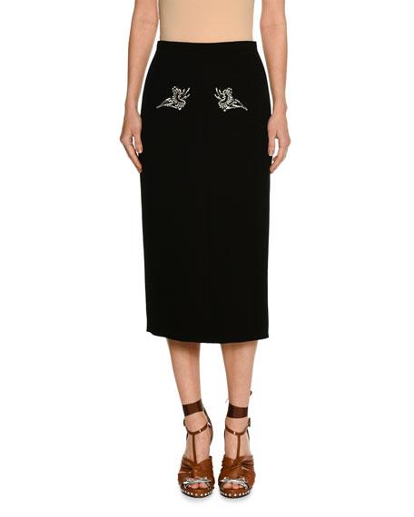 Pencil Midi Skirt w/ Embellishments