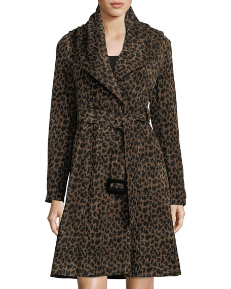 Nanette Lepore Carnaby Animal-Print Shawl-Collar Belted Coat