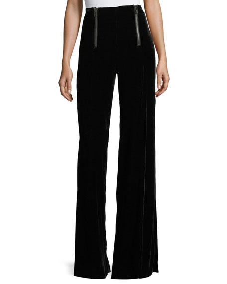 Nanette Lepore Victoria High-Waist Wide-Leg Velvet Pants