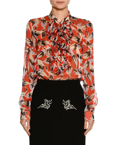 Ruffled-Bib Long-Sleeve Printed Chiffon Blouse