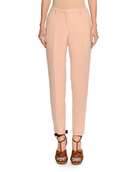 Mid-Rise Skinny Crepe Trousers