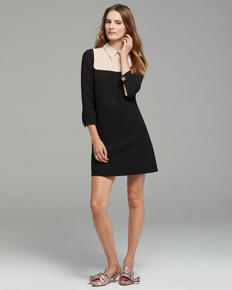 Long-Sleeve Collared A-Line Cocktail Dress