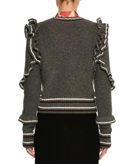 Crewneck Striped Ruffled Wool Sweater
