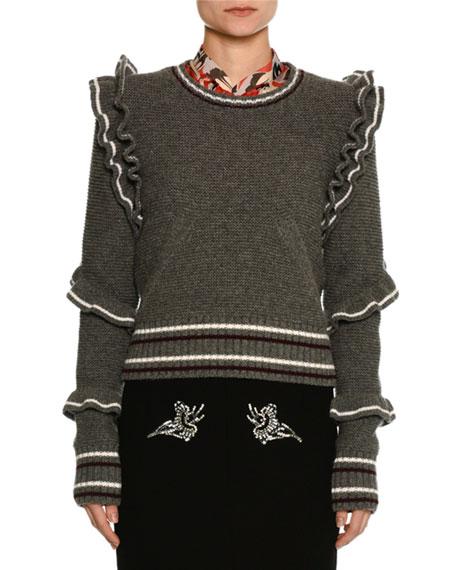 No. 21 Crewneck Striped Ruffled Wool Sweater