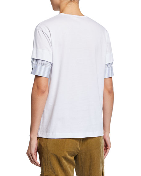Short-Sleeve Asymmetric Trim Cotton Tee