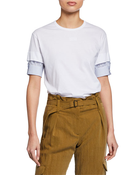 No. 21 Short-Sleeve Asymmetric Trim Cotton Tee and
