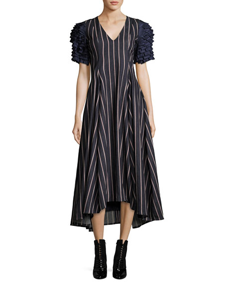 Maggie Marilyn Grabs Your Heart Striped V-Neck Ruffled-Sleeves