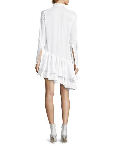 Super Human Ruffled Cotton Shirting Asymmetric Shirtdress