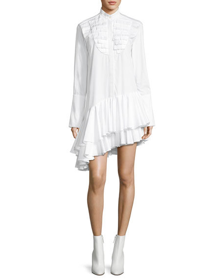 Maggie Marilyn Super Human Ruffled Cotton Shirting Asymmetric