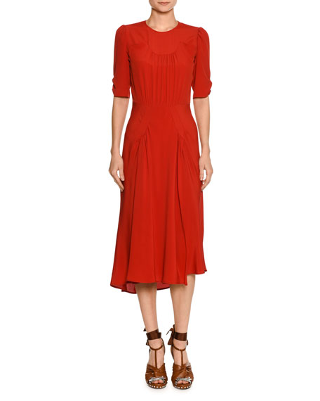 No. 21 Jewel-Neck Ruched Half-Sleeve Midi Dress