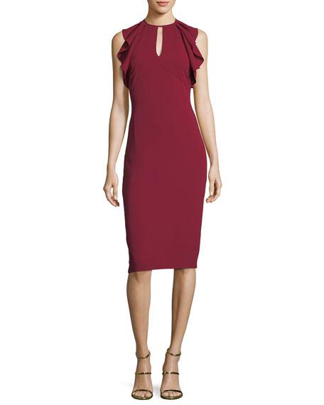 Shoshanna Darwin Sleeveless Ruffled-Frill Sheath Dress