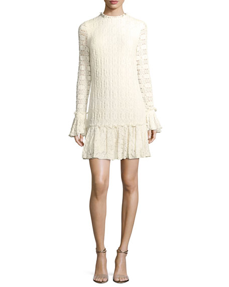 Heatherley Flounce High-Neck Long-Sleeve Lace Dress