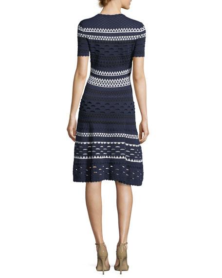 Landale Short-Sleeve Knit Cutout Midi Dress