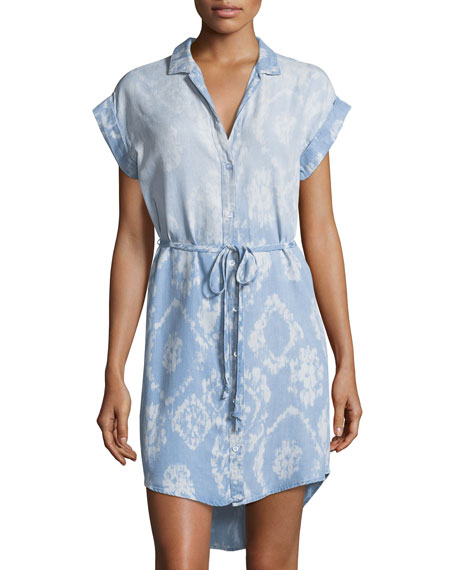 Chelsea & Theodore Diamond-Print Chambray Dress