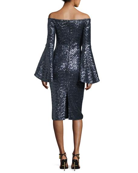 Off-the-Shoulder Trumpet-Sleeve Sequin Cocktail Dress