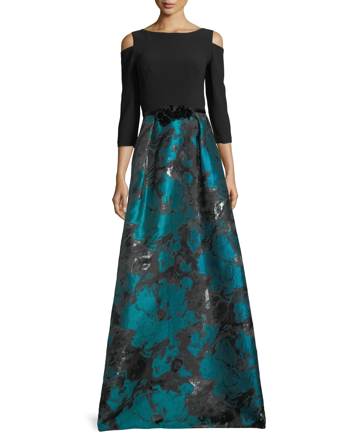 79ce87b4ee0a Theia Cold-Shoulder Crepe   Taffeta Evening Gown