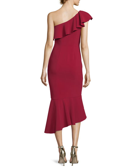 One-Shoulder Asymmetric Ruffle Crepe Cocktail Dress