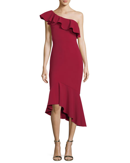 One-Shoulder Asymmetric Ruffle Crepe Cocktail Dress