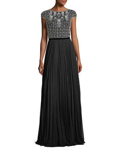 Cap-Sleeve Beaded Pleated Bateau-Neck Evening Gown