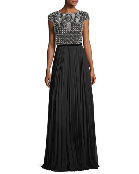 Theia Cap-Sleeve Beaded Pleated Bateau-Neck Evening Gown