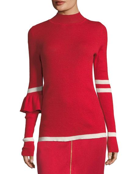 Heart Whisperer Rib-Knit Wool Sweater w/ Stripes