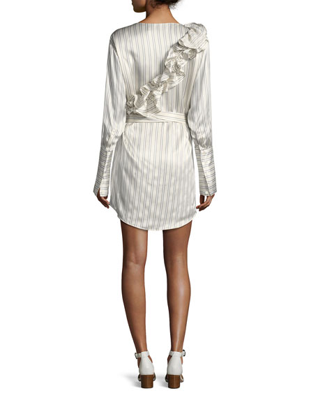Silk Somewhere Striped Satin Shirtdress w/ Ruffled Frills