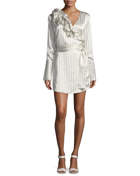 Silk Somewhere Striped Satin Shirtdress w/ Ruffled Frills