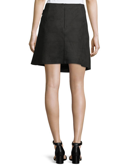 Faux-Suede Hardware Skirt
