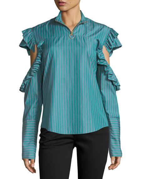 Truth-Teller Split-Sleeve Striped Poplin Shirt