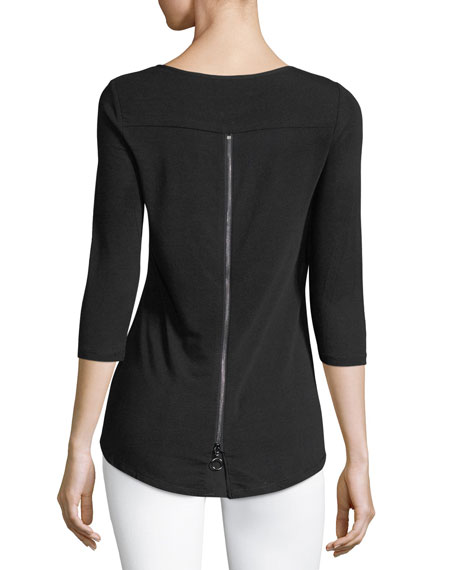 3/4-Sleeve Zip-Back Tee
