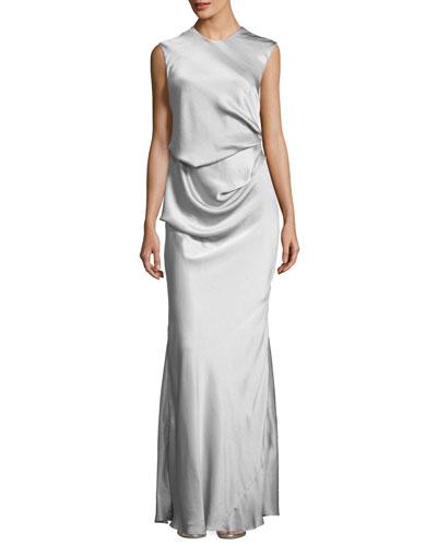 Grazia Draped Sleeveless Evening Gown