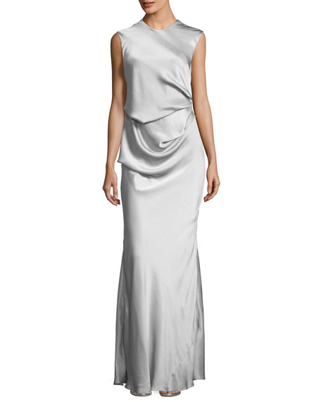 Camilla & Marc Grazia Draped Sleeveless Evening Gown