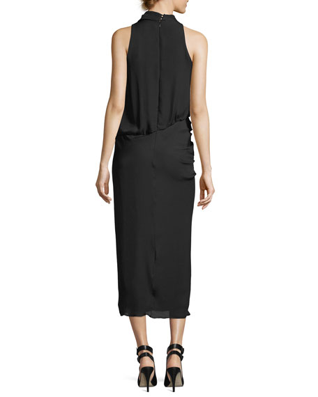 Mila Cowl-Neck Draped Sleeveless Cocktail Dress