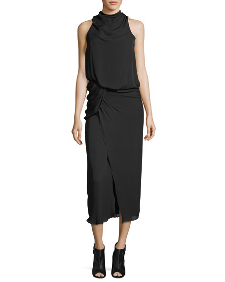 Camilla & Marc Mila Cowl-Neck Draped Sleeveless Cocktail