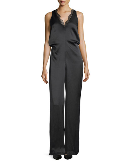 CAMILLA AND MARC Grazia Sleeveless Satin Jumpsuit w/