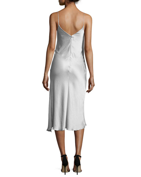 Grazia Sleeveless Satin Midi Cocktail Dress