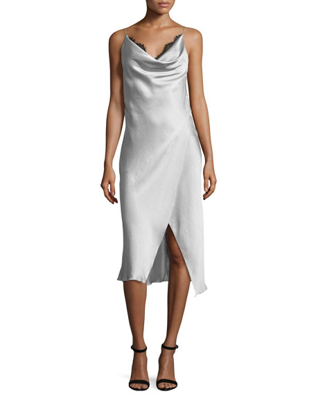 Camilla & Marc Grazia Sleeveless Satin Midi Cocktail