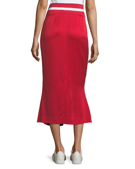 Focus on the Good Flared Midi Satin Skirt w/ Ribbed Waist