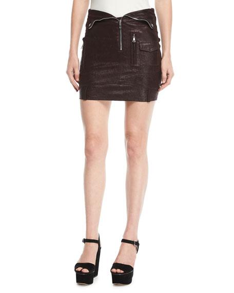 Gisele Zip-Front Mini Leather Biker Skirt