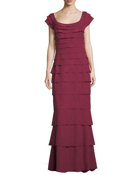 Scoop-Neck Cap-Sleeve Tiered Textured Crepe Gown