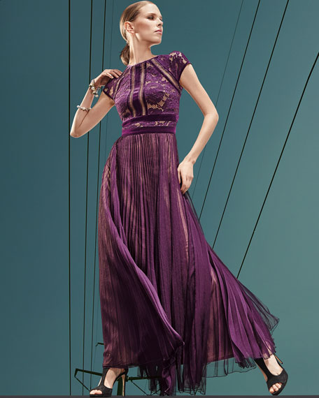 Cap-Sleeve Lace Evening Gown w/ Pleated Chiffon Skirt