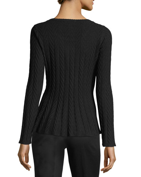 Chevron-Knit Peplum Sweater