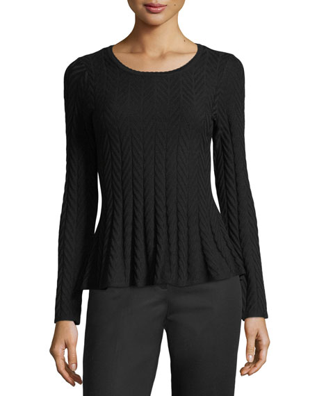 CeCe by Cynthia Steffe Chevron-Knit Peplum Sweater