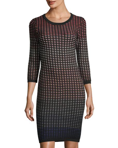 CeCe by Cynthia Steffe Ombr??-Grid Jacquard Dress