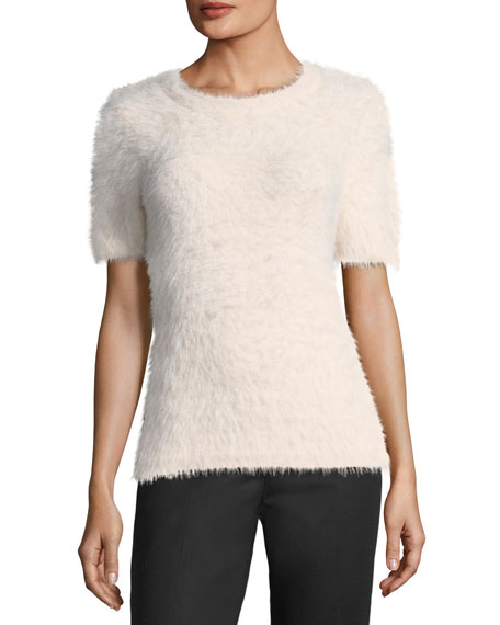 Fuzzy Short-Sleeve Sweater