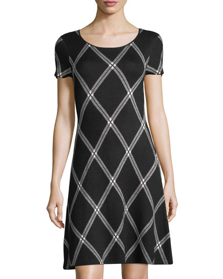 CeCe by Cynthia Steffe Plaid Jacquard-Knit Dress