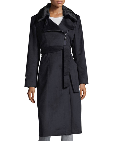 Belle Fare Cashmere Coat w/ Mink Collar