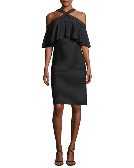 Halter-Neck Pintuck Jersey Cocktail Dress