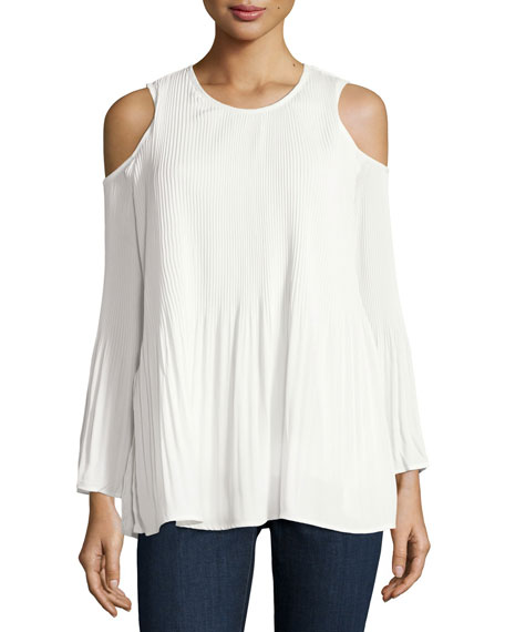 Cold-Shoulder Pleated Tunic